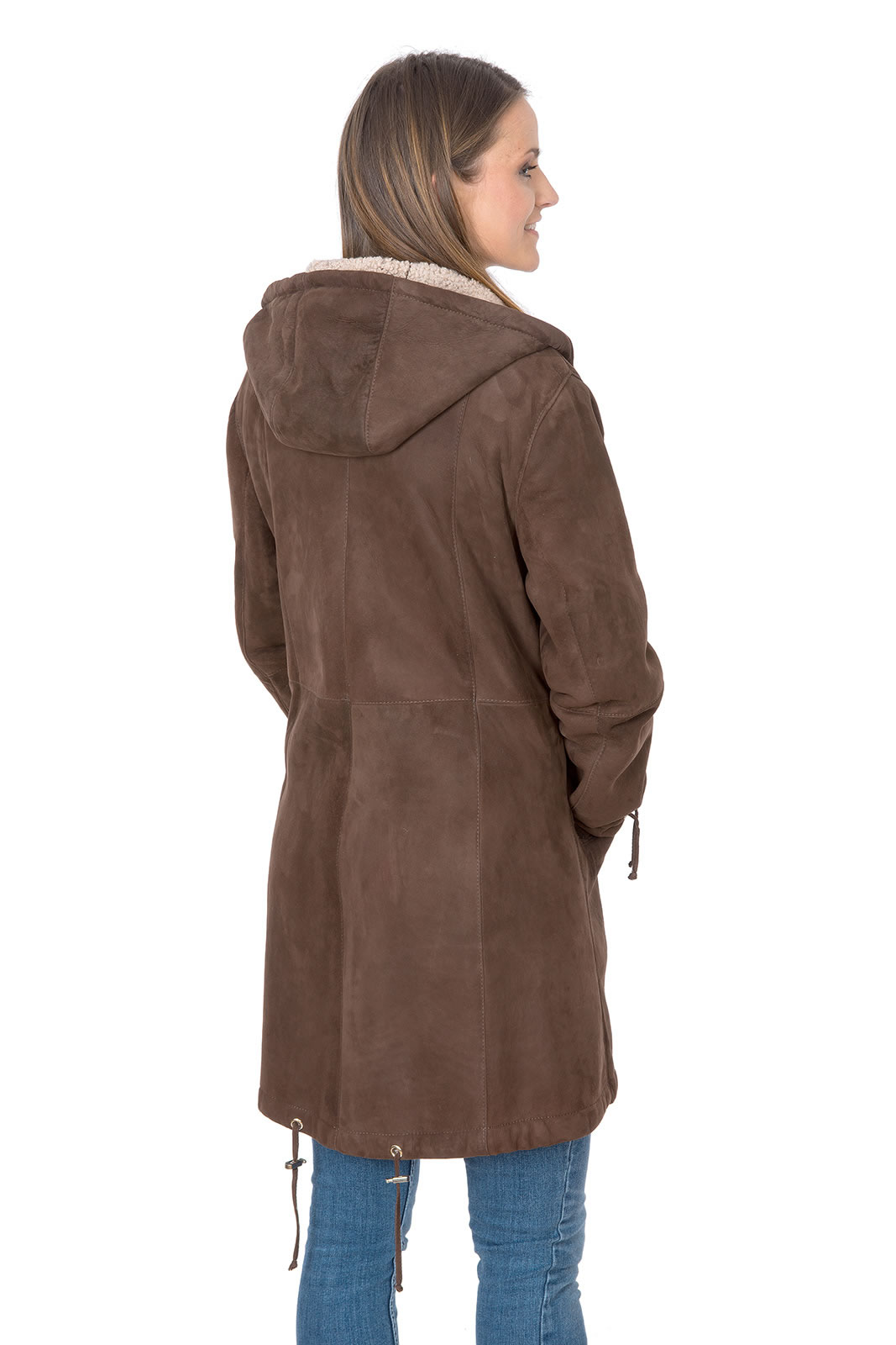 outlet store 3ca47 2be87 Curly lamb suede parka in brown/beige