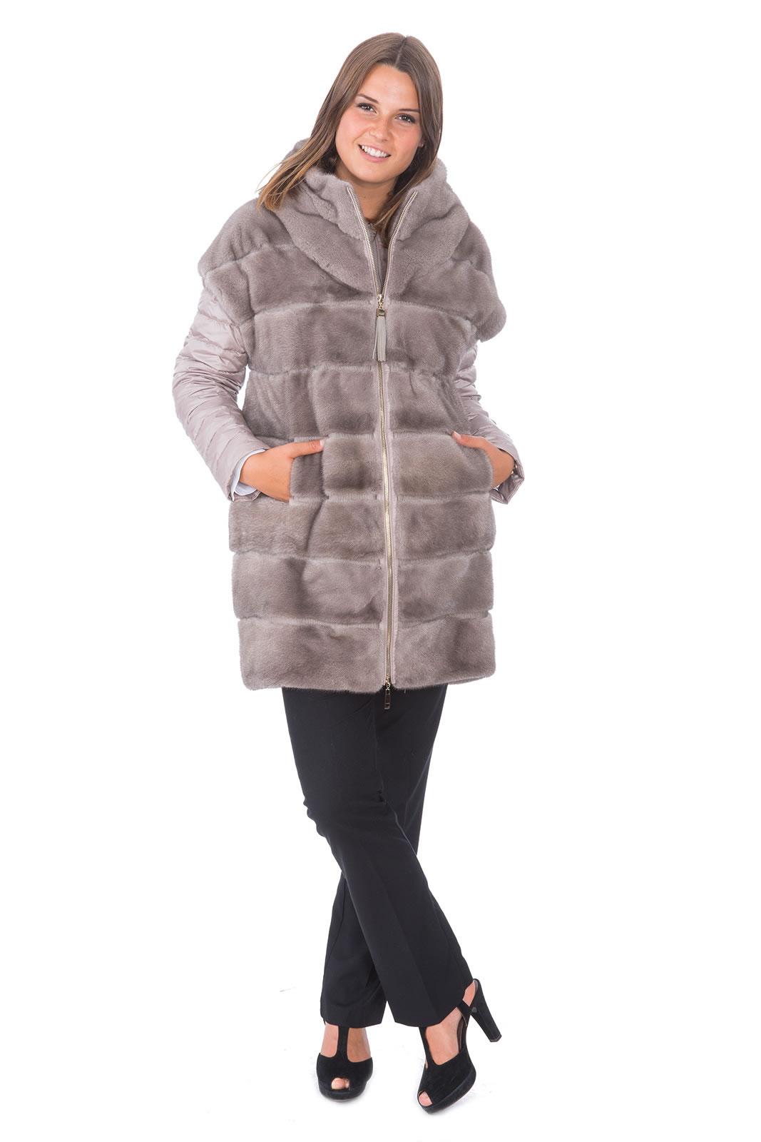 wholesale dealer 85770 f512a Nerz Kurzmantel mit Stoff im Materialmix