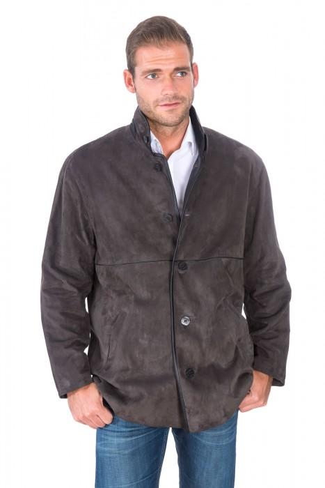 Klassische Ziegenvelours Leder Jacke graublau