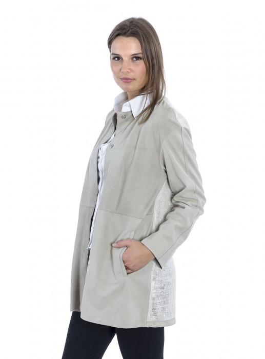 Kragenlose Leder Jacke mit Stoff