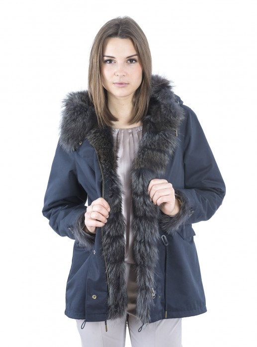 online store 00707 c8a32 Cotton parka with fur lining dark blue