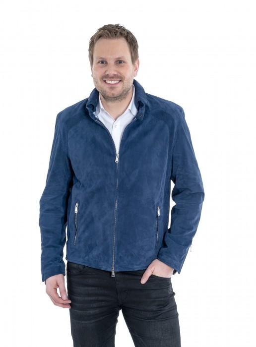 Ziegenvelour Jacke San Remo true blue Heinz Bauer