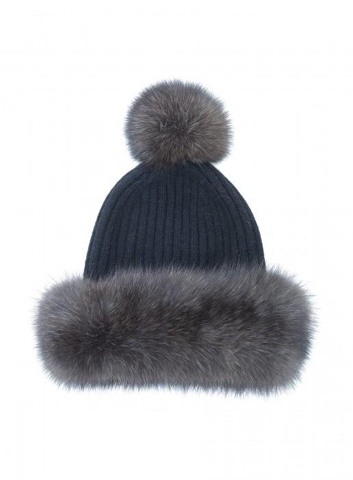 Kaschmir Mütze mit Zobel schwarz