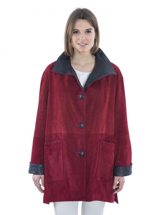 Ziegenvelours-Leder-Jacke mit halzfernem, hohen Stehkragen