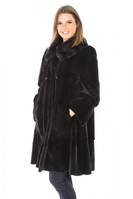 Samtwiesel Mantel mit Fehkragen