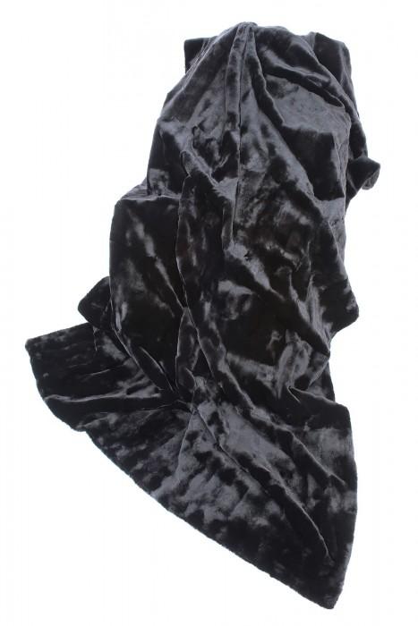 Schwarze Samtwiesel Decke beidseitig Fell 210x145