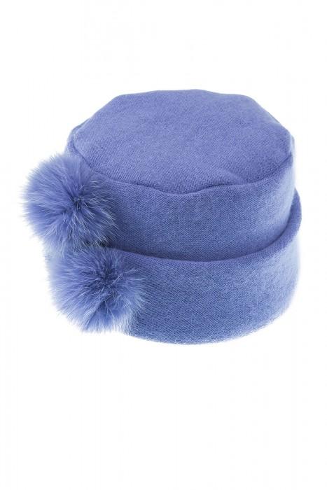 Angora Mütze mit Pelzbommel lila