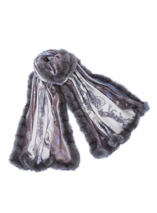 Cashmere 100% Tuch mit russischem Zobel grau schwarz taupe 70x200cm