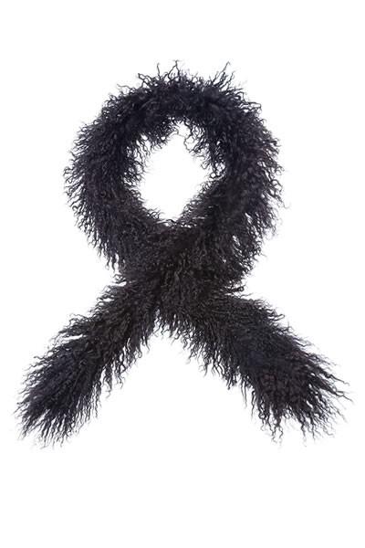 Tibet Lammfell Schal dunkelbraun