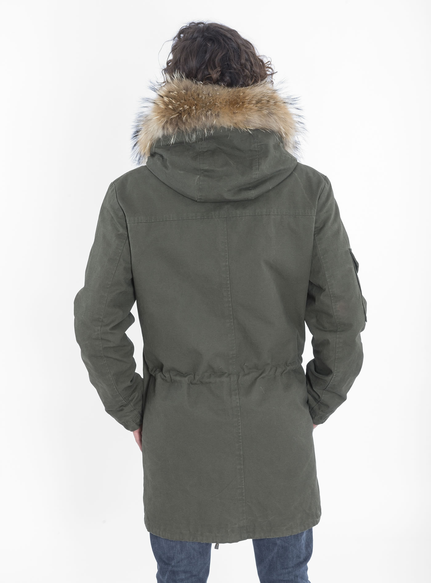 Men's parka with camouflage lining