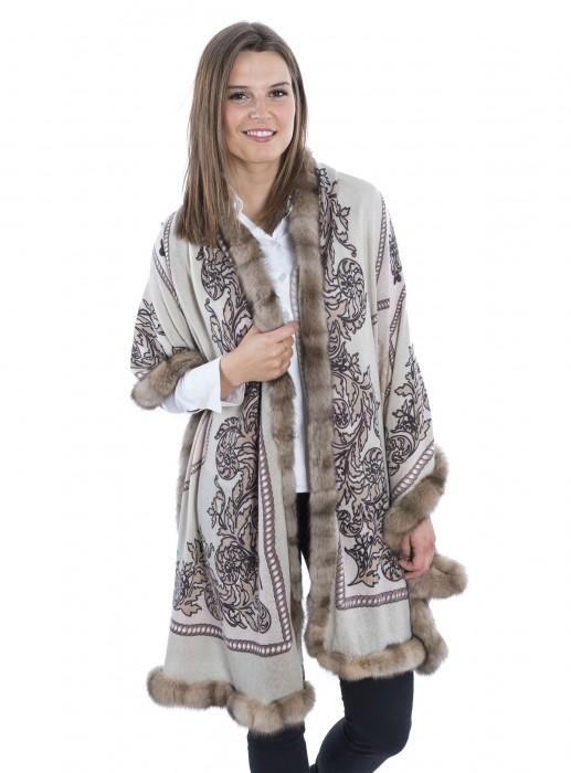 Cashmere 100% Tuch mit russischem Zobel nude braun 70x200cm