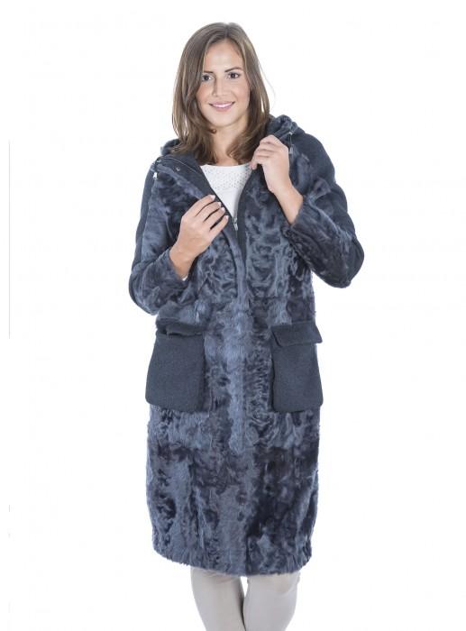 Seidenlamm Mantel mit Wolle Kombination