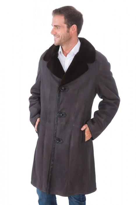 Nappierter Samtnerz Mantel dunkelbraun