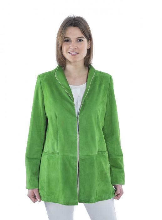 Taillierter Lederblazer grün