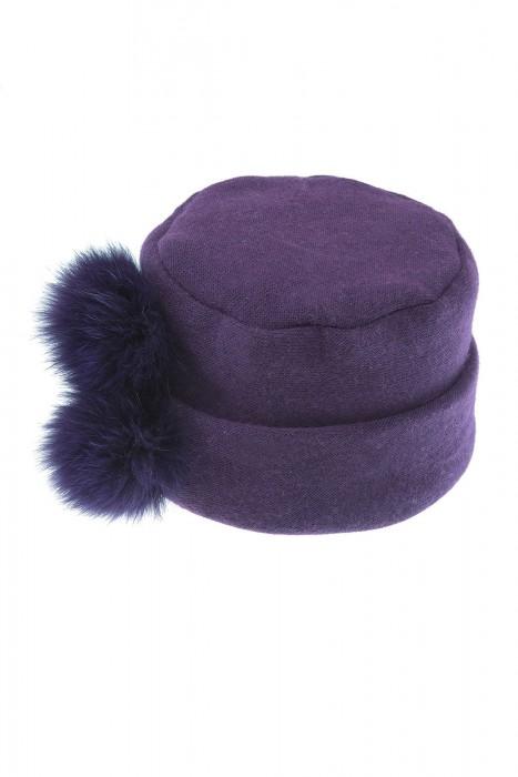 Angora Mütze mit Blaufuchs aubergine
