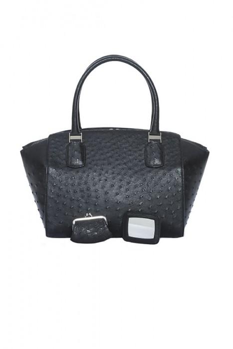Straußenleder Tasche schwarz