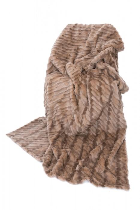 Taupe Fehwammen Decke beidseitig Fell 210x140