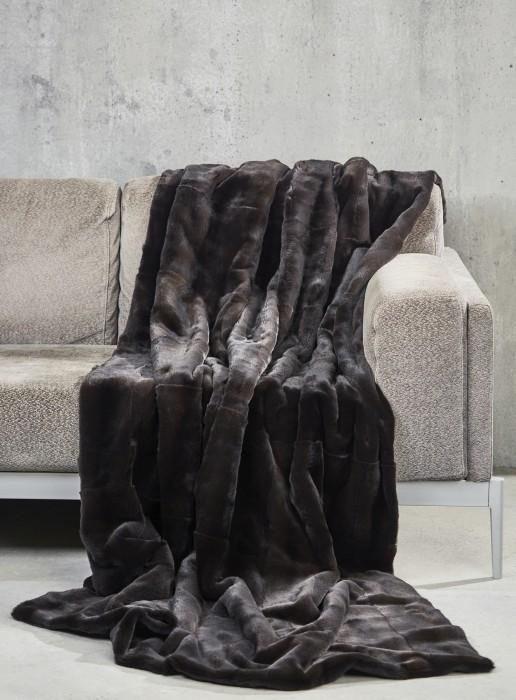 Braune Samtwiesel Decke beidseitig Fell 200x145