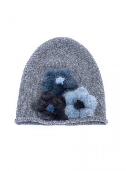 Cashmere Mütze mit Nerz