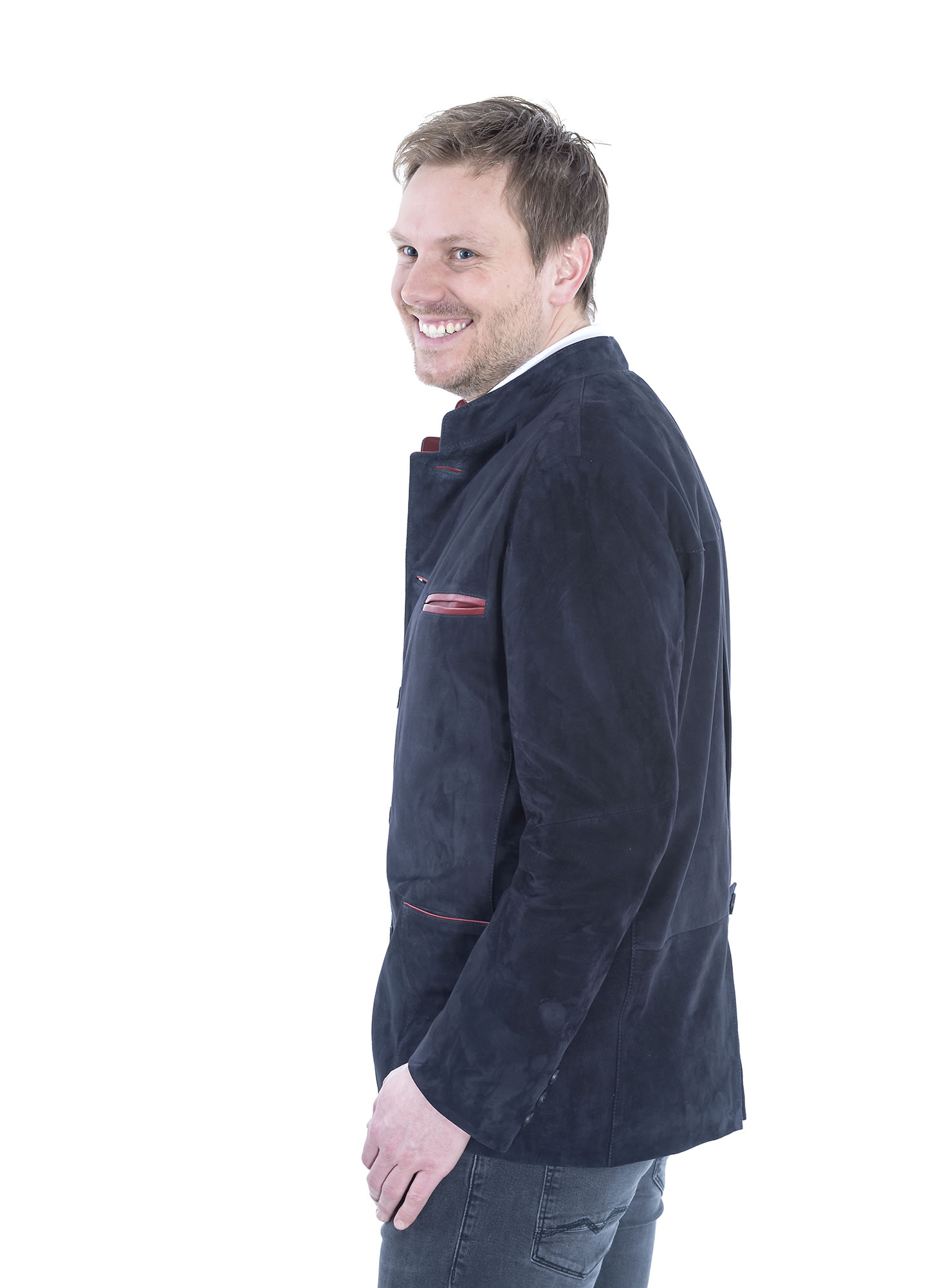 Traditional suede leather jacket in navy by Mersmann 103330