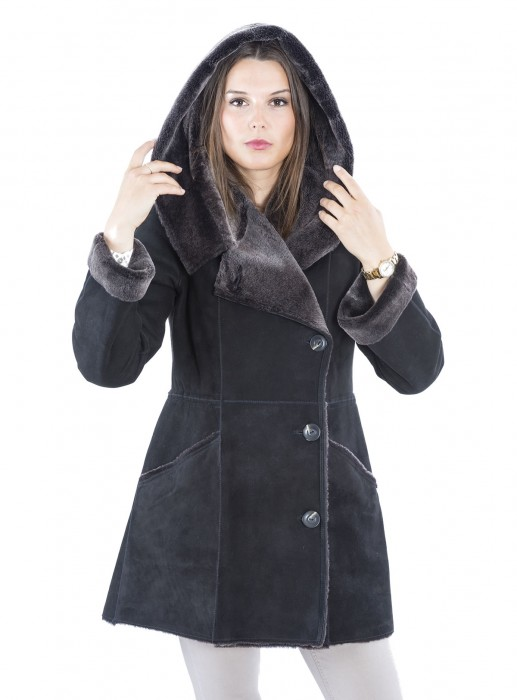 Lacon Lammfell Jacke mit Kapuzenkragen schwarz brisa