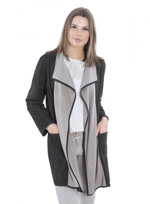 Ziegenvelour Leder Jacke mit Wolleinsatz bottle