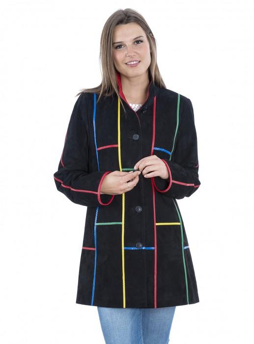 Multicolor Ziegenvelours  Leder Jacke schwarz bunt