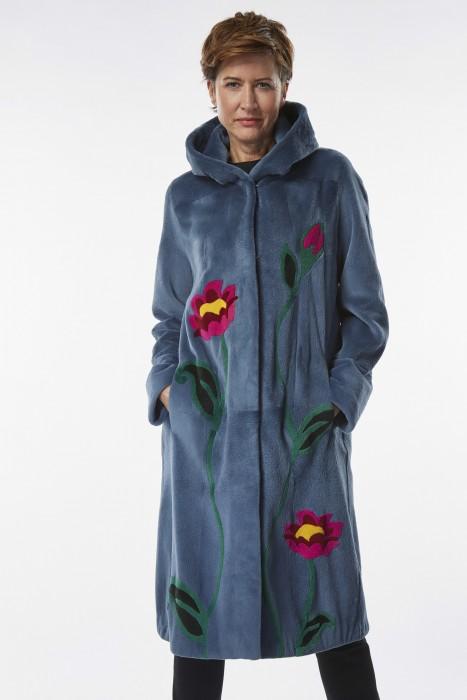 Cashmere Nerzmantel mit Blumen