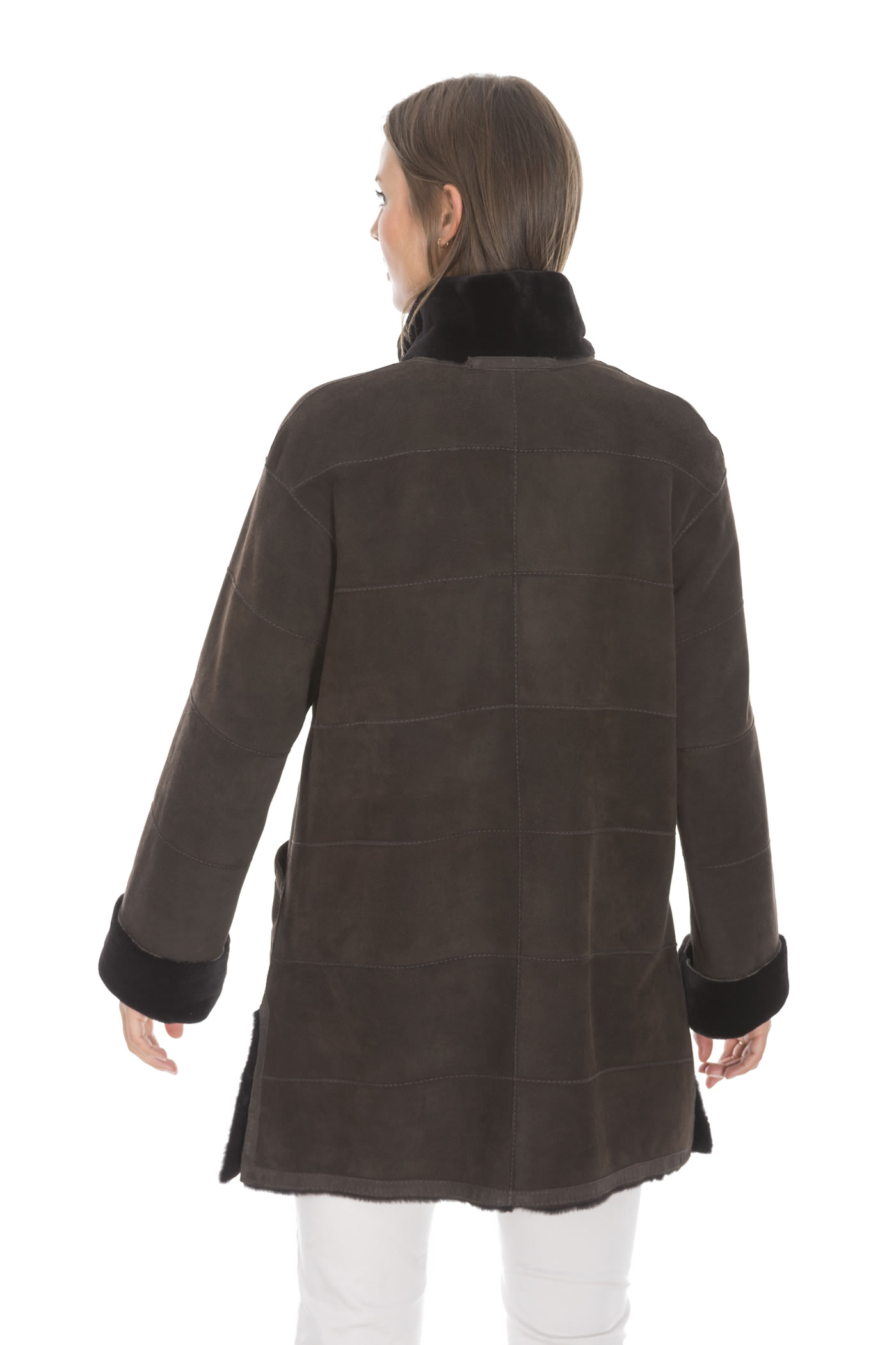 info for 4b3ec 32dbc Casual suede mink jacket with stand-up collar
