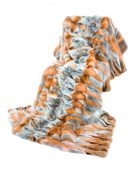 Kanadische Rotfuchs Decke natur mit Schurwolle 210x140