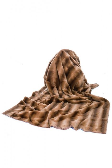 Samtwiesel Decke beige mit Cashmere