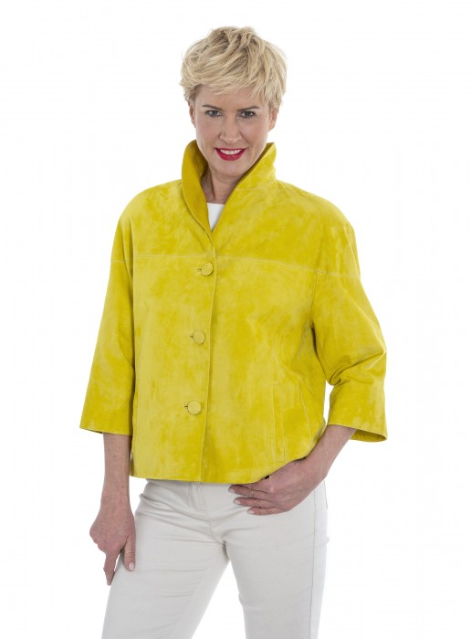 Velour-Leder Kurzjacke mit reduzierter Armlänge