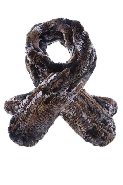 Kanin Schal mit Handschuh braun