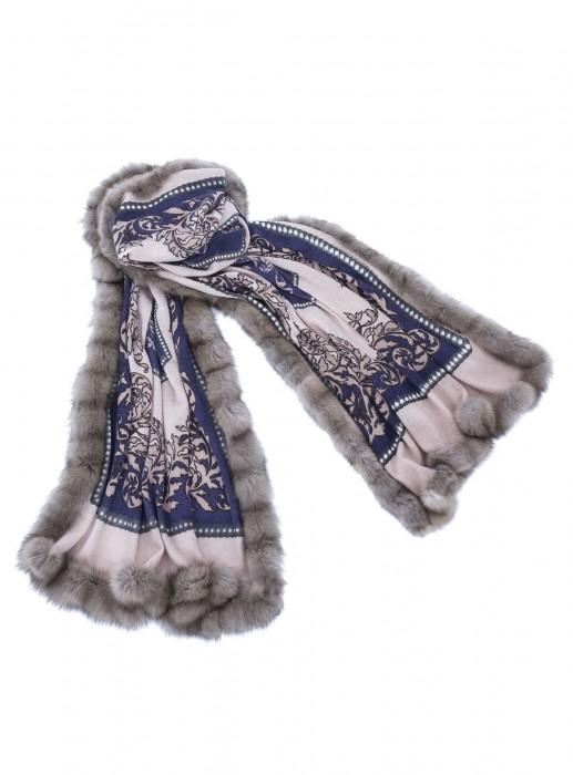 Cashmere 100% Tuch mit russischem Zobel taupe blau schwarz 70x200cm
