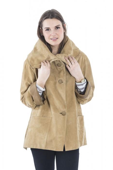 Ziegenvelours Leder Jacke mit großem Kragen leinen