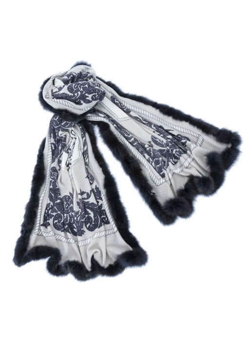 Cashmere 100% Tuch mit russischem Zobel schwarz taupe grau 70x200cm