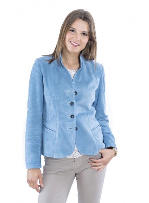 Taillierte Ziegenvelours Leder Jacke bleu