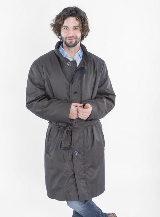 Herren Micro Mantel federleicht mit Samtwiesel gefüttert