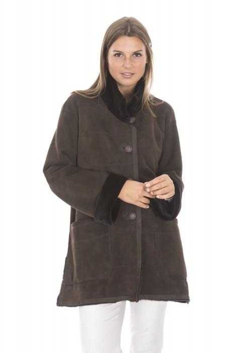 Sportliche Veloursnerz Jacke mit Stehkragen marrone