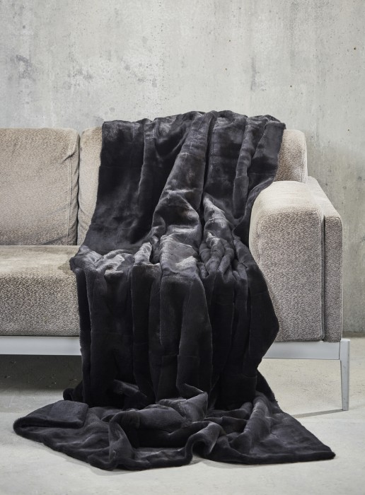 Dunkelgraue Samtwiesel Decke beidseitig Fell 210x140